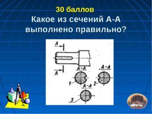 30 баллов Какое из сечений А-А выполнено правильно?