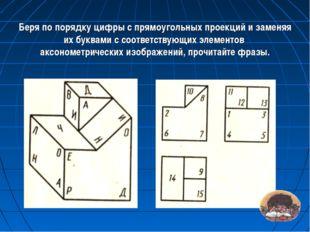 Беря по порядку цифры с прямоугольных проекций и заменяя их буквами с соотве