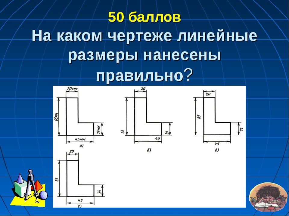 50 баллов На каком чертеже линейные размеры нанесены правильно?