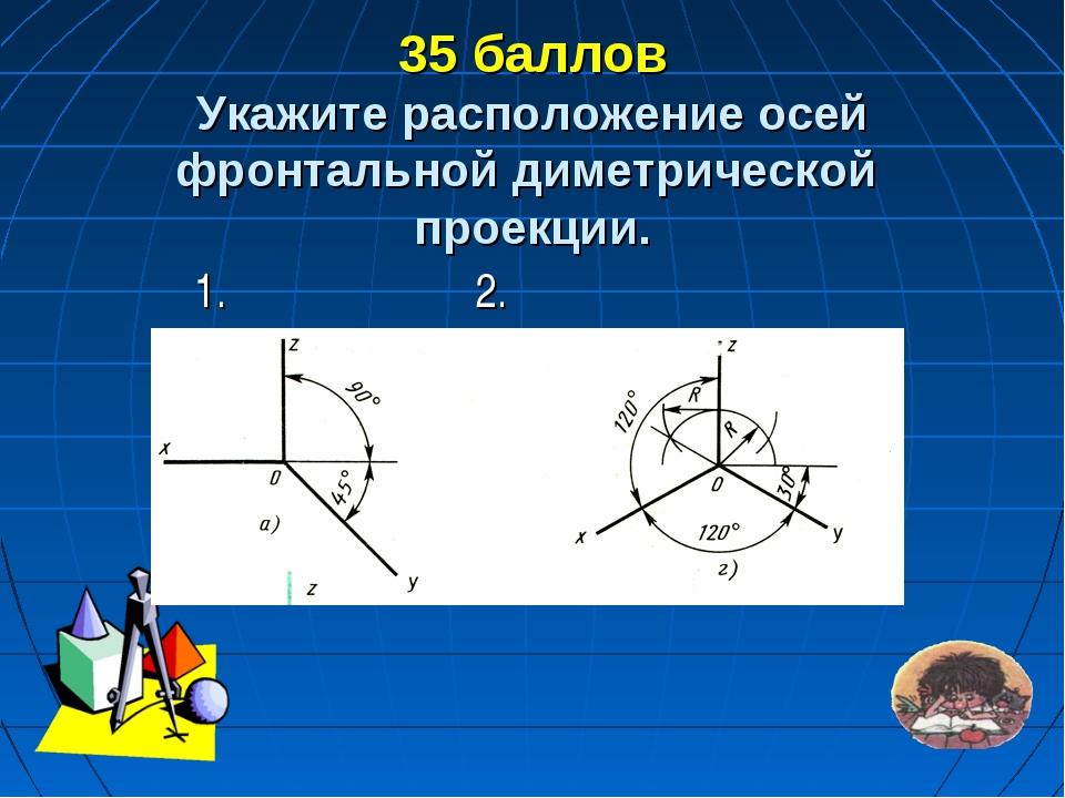 35 баллов Укажите расположение осей фронтальной диметрической проекции. 1. 2.