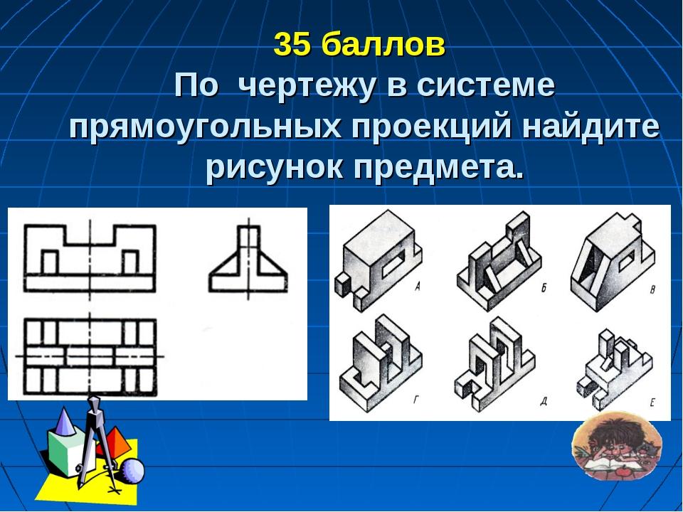 35 баллов По чертежу в системе прямоугольных проекций найдите рисунок предме...