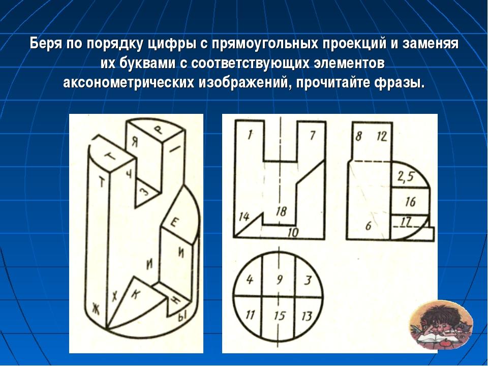 Беря по порядку цифры с прямоугольных проекций и заменяя их буквами с соотве...