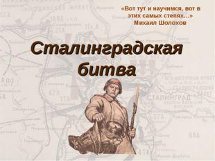 Сталинградская битва «Вот тут и научимся, вот в этих самых степях…» Михаил Шо