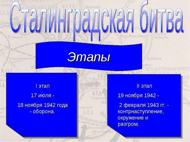 Этапы I этап 17 июля - 18 ноября 1942 года - оборона. II этап 19 ноября 1942...
