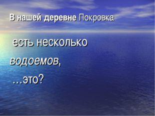 В нашей деревне Покровка есть несколько водоемов, …это?