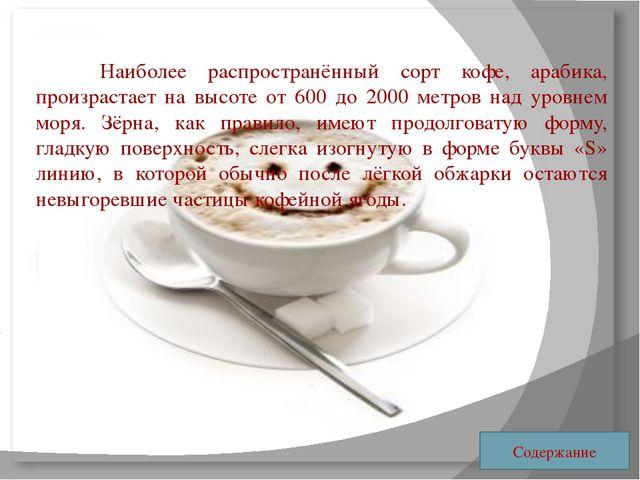 Наиболее распространённый сорт кофе, арабика, произрастает на высоте от 600...