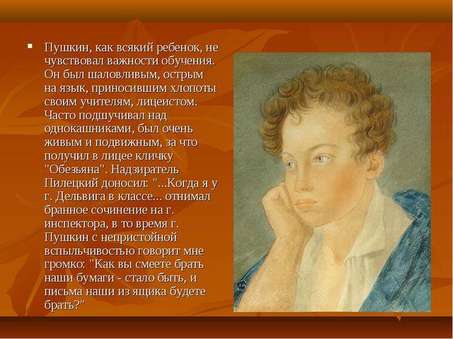 Пушкин, как всякий ребенок, не чувствовал важности обучения. Он был шаловливы...