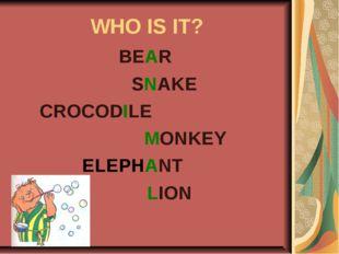 WHO IS IT? BEAR SNAKE CROCODILE MONKEY ELEPHANT LION