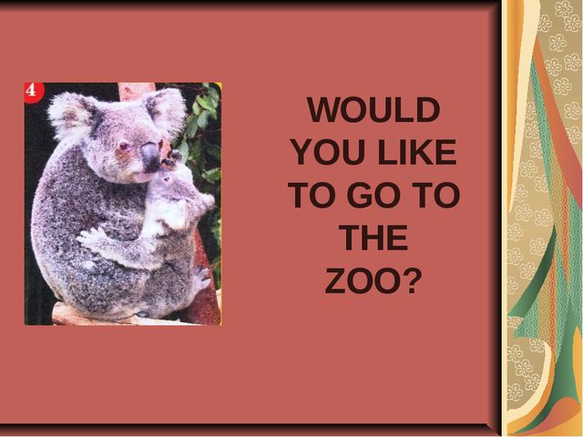 WOULD YOU LIKE TO GO TO THE ZOO?