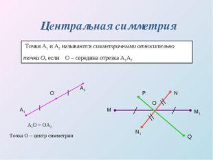 Центральная симметрия Точки А1 и А2 называются симметричными относительно точ