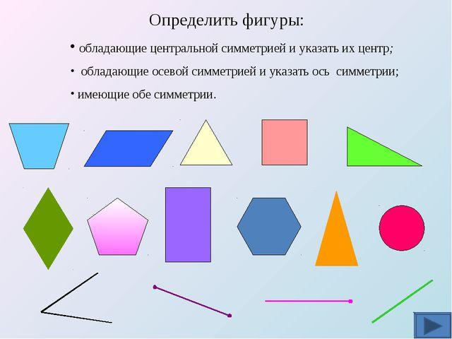 Определить фигуры: обладающие центральной симметрией и указать их центр; обл...