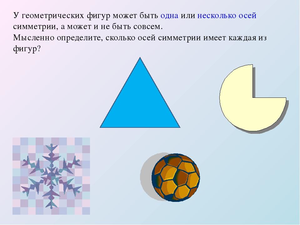 У геометрических фигур может быть одна или несколько осей симметрии, а может...