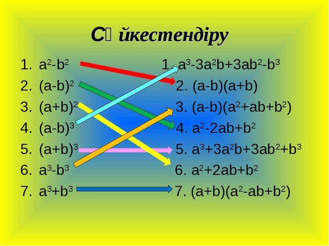 Сәйкестендіру a2-b2 1. a3-3a2b+3ab2-b3 (a-b)2 2. (a-b)(a+b) (a+b)2 3. (a-b)(a...
