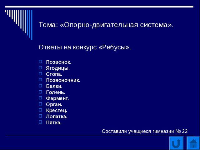 Тема: «Опорно-двигательная система». Ответы на конкурс «Ребусы». Позвонок. Яг...