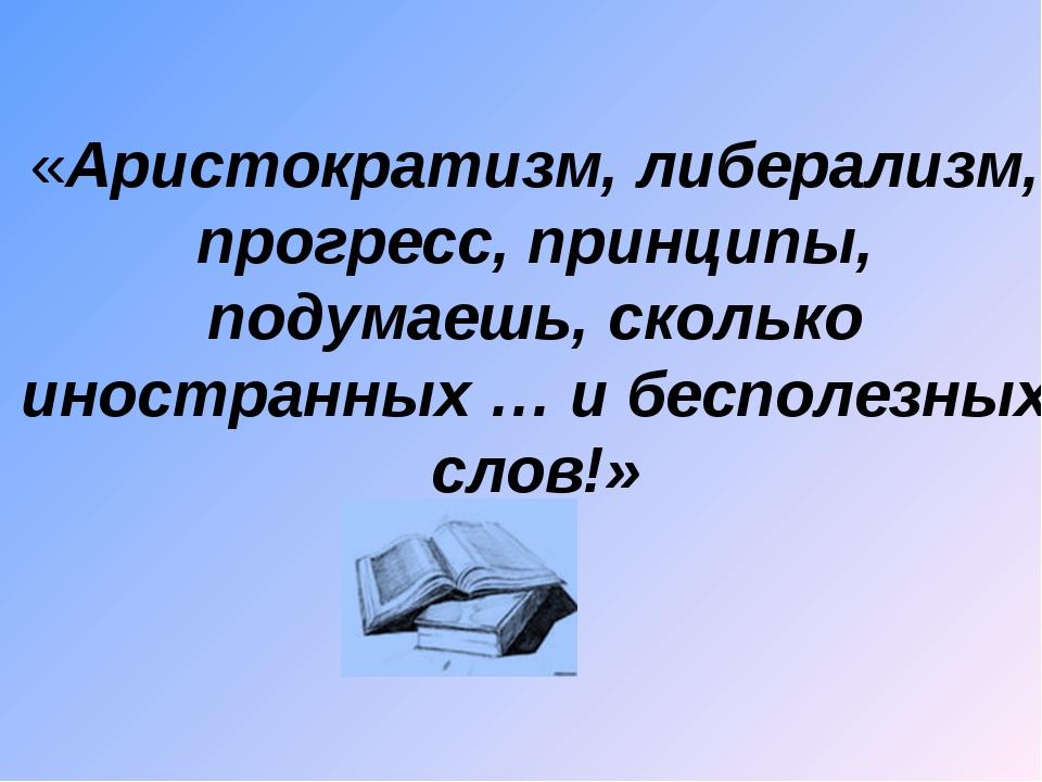«Аристократизм, либерализм, прогресс, принципы, подумаешь, сколько иностранны...