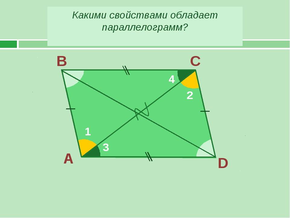 А В С D 1 2 3 4 Какими свойствами обладает параллелограмм?