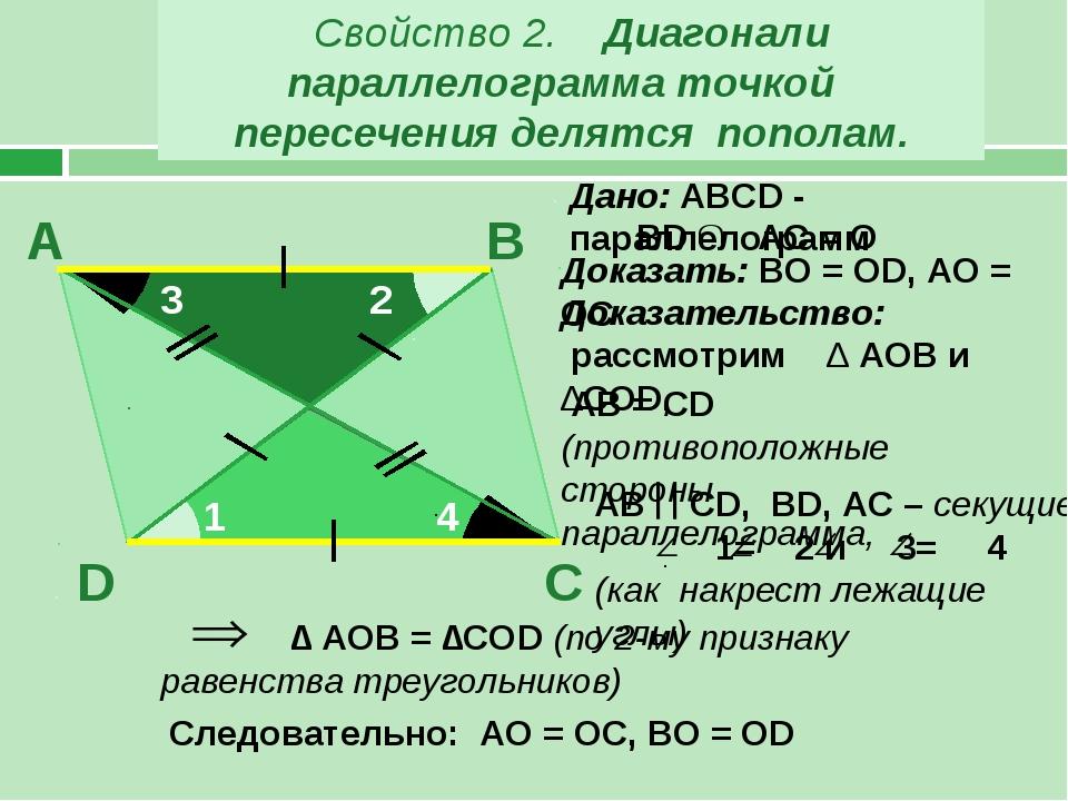 Свойство 2. Диагонали параллелограмма точкой пересечения делятся пополам. В А...