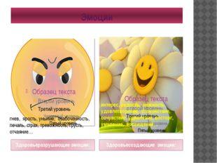 Эмоции Здоровьеразрушающие эмоции: Здоровьесоздающие эмоции: гнев, ярость, ун