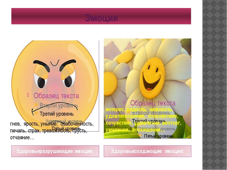 Эмоции Здоровьеразрушающие эмоции: Здоровьесоздающие эмоции: гнев, ярость, ун...