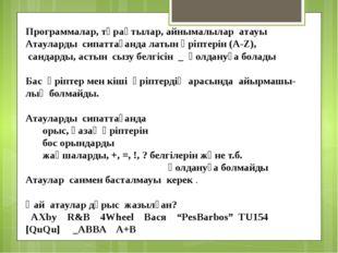 Программалар, тұрақтылар, айнымалылар атауы Атауларды сипаттағанда латын ә