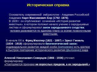 Историческая справка Основатель современной эмбриологии - Академик Российской