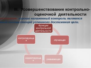 ІІІ. Усовершенствование контрольно- оценочной деятельности Обоснование: хоро