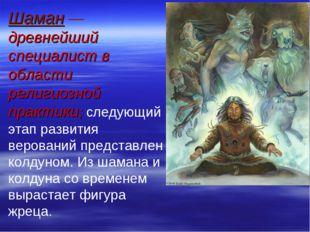 Шаман — древнейший специалист в области религиозной практики; следующий этап