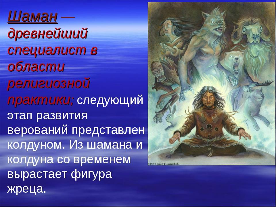 Шаман — древнейший специалист в области религиозной практики; следующий этап...
