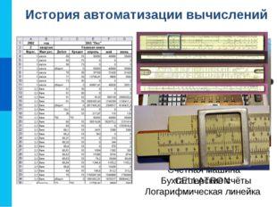 История автоматизации вычислений Бухгалтерские счёты Счётная машина CELLATRON