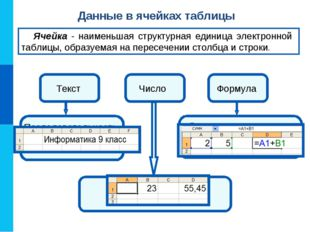 Данные в ячейках таблицы Ячейка - наименьшая структурная единица электронной