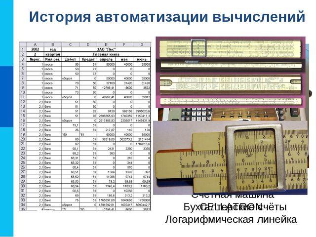 История автоматизации вычислений Бухгалтерские счёты Счётная машина CELLATRON...