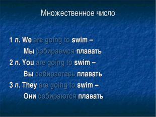 Множественное число 1 л. We are going to swim – Мы собираемся плавать 2 л. Yo