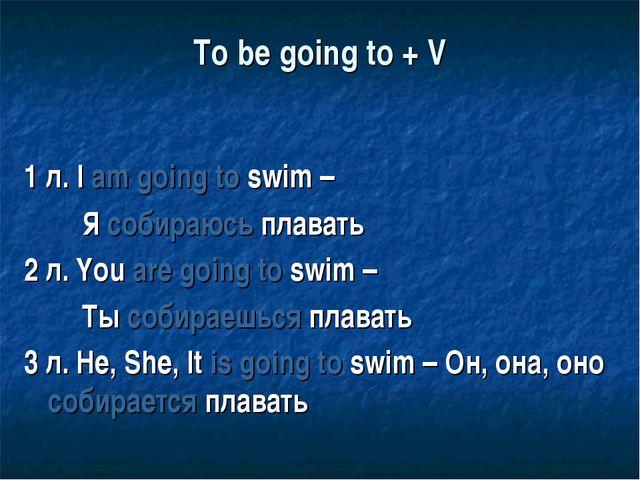 To be going to + V 1 л. I am going to swim – Я собираюсь плавать 2 л. You are...