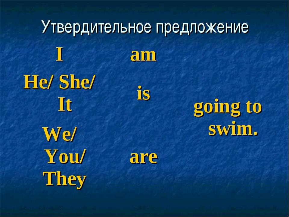 Утвердительное предложение Iamgoing to swim. He/ She/ Itis We/ You/ They...