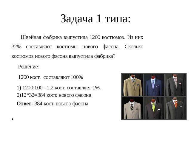 Задача 1 типа: Швейная фабрика выпустила 1200 костюмов. Из них 32% составляют...