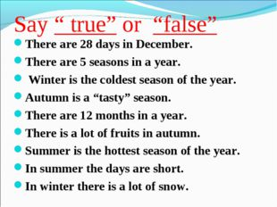 "Say "" true"" or ""false"" There are 28 days in December. There are 5 seasons in"
