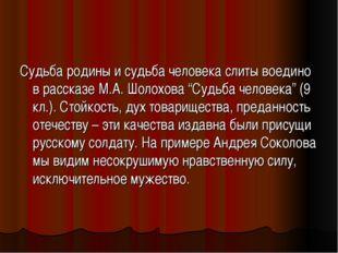 """Судьба родины и судьба человека слиты воедино в рассказе М.А. Шолохова """"Судьб"""