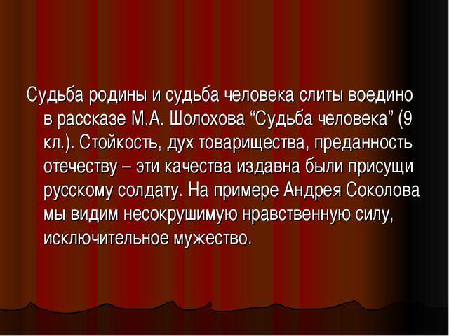 """Судьба родины и судьба человека слиты воедино в рассказе М.А. Шолохова """"Судьб..."""