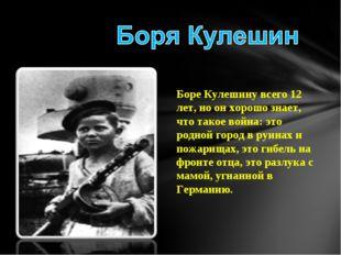 Боре Кулешину всего 12 лет, но он хорошо знает, что такое война: это родной