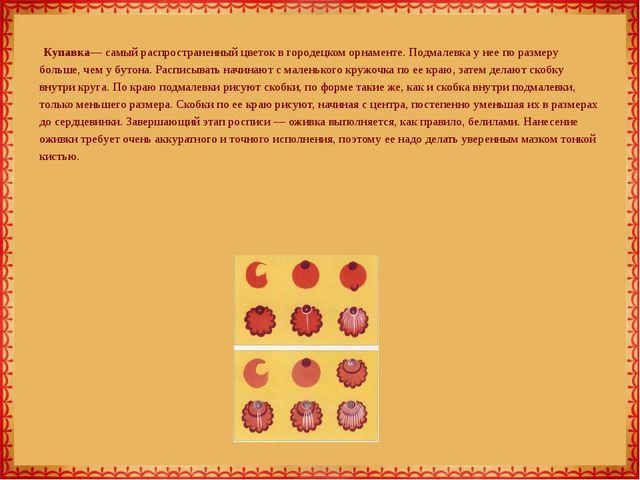 Купавка— самый распространенный цветок в городецком орнаменте. Подмалевка у...