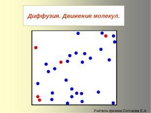 Диффузия. Движение молекул. Учитель физики:Сотскова Е.А.