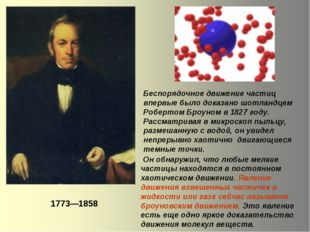 Беспорядочное движение частиц впервые было доказано шотландцем Робертом Броун