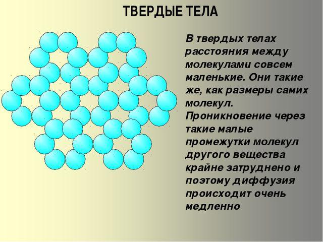ТВЕРДЫЕ ТЕЛА В твердых телах расстояния между молекулами совсем маленькие. Он...