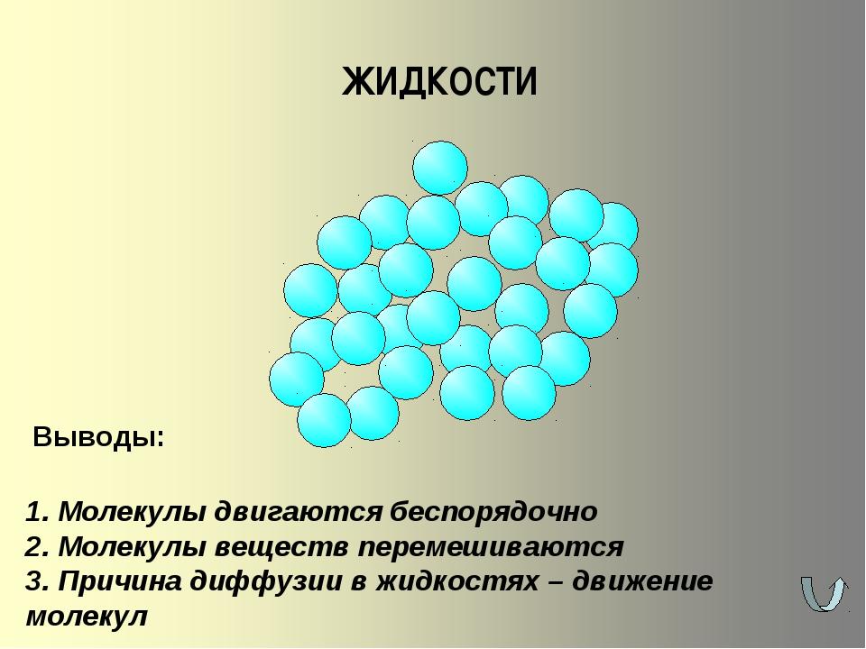 ЖИДКОСТИ 1. Молекулы двигаются беспорядочно 2. Молекулы веществ перемешиваютс...
