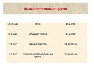 Комплектование групп 1.5-3 года Ясли 15 детей 3-4 года Младшая группа 17 дете