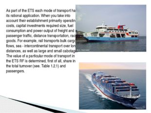 As part of the ETS each mode of transport has its rational application. When