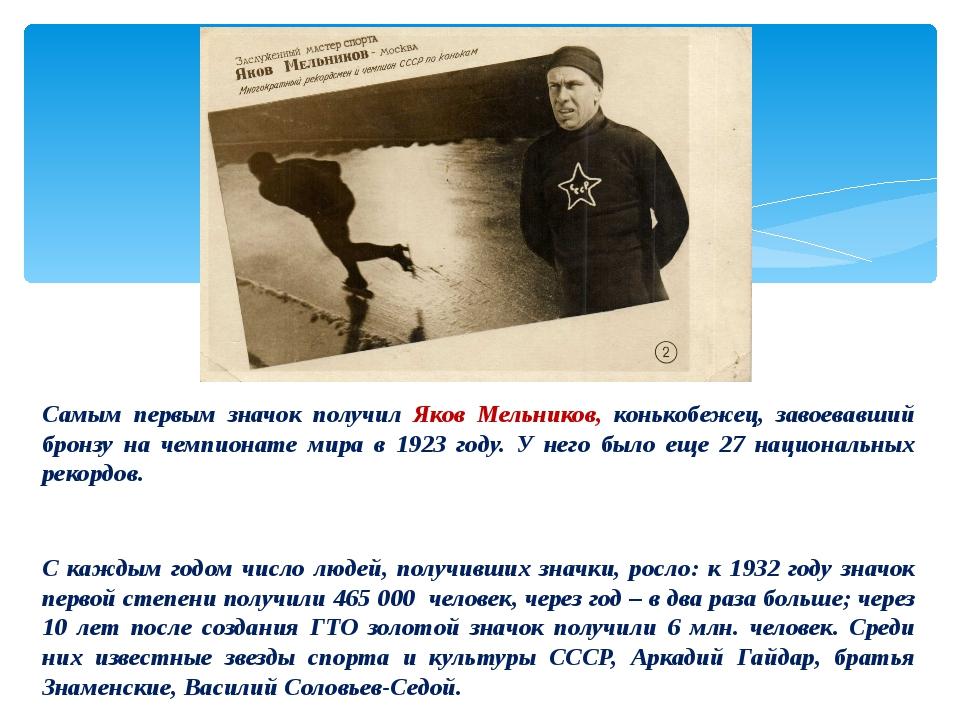 Самым первым значок получил Яков Мельников, конькобежец, завоевавший бронзу...