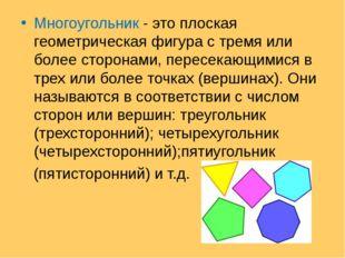 Многоугольник - это плоская геометрическая фигура с тремя или более сторонами