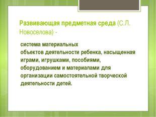 Развивающая предметная среда (С.Л. Новоселова) - система материальных объекто