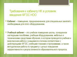 Требования к кабинету НК в условиях введения ФГОС НОО Кабинет – помещение, пр